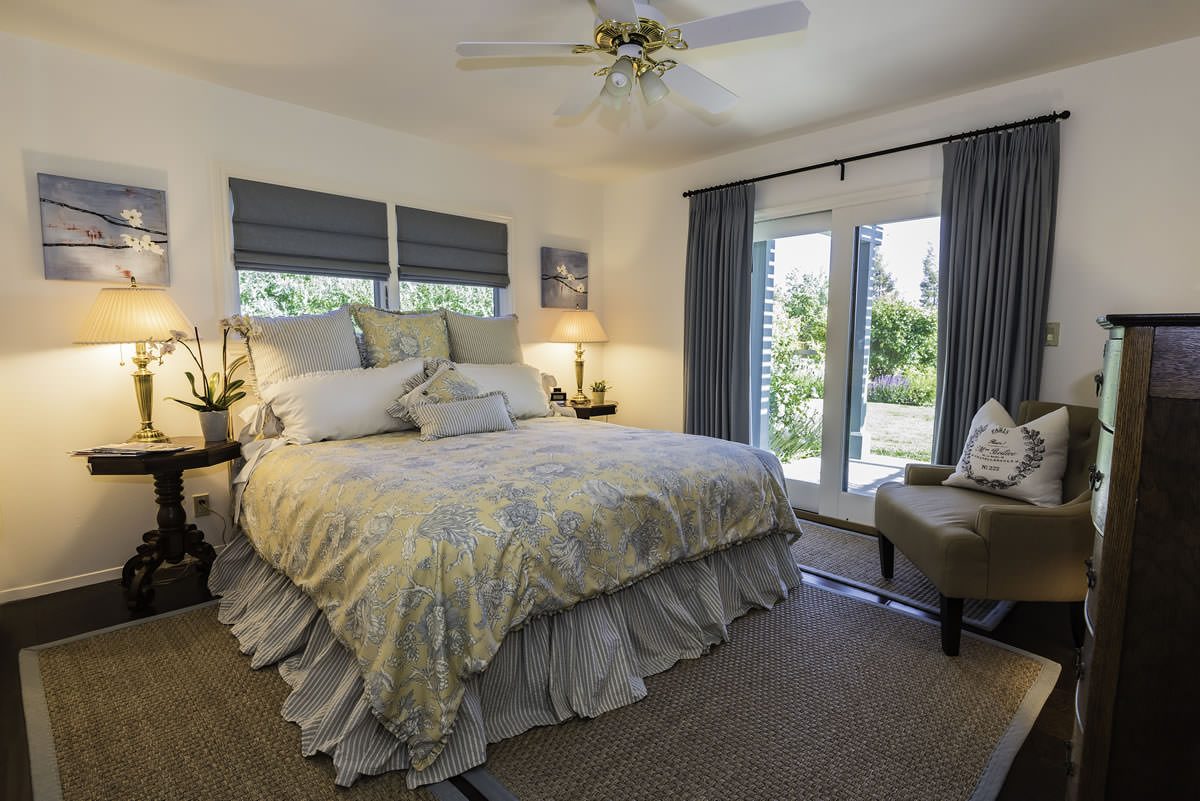 Master bedroom with French Laundry bedding and plush linens